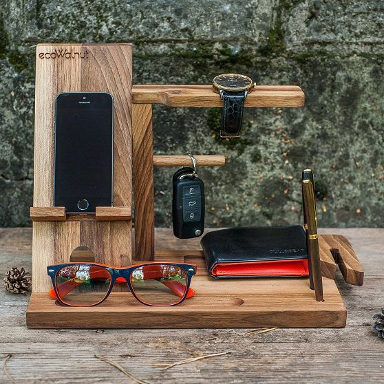 iPhone Table Idea For Dad Desk Organizer Gifts Him Men Brother Stand  Charging Wood Dock Glasses Dark Organize Man Personalized Custom Gifts b1f857fc50