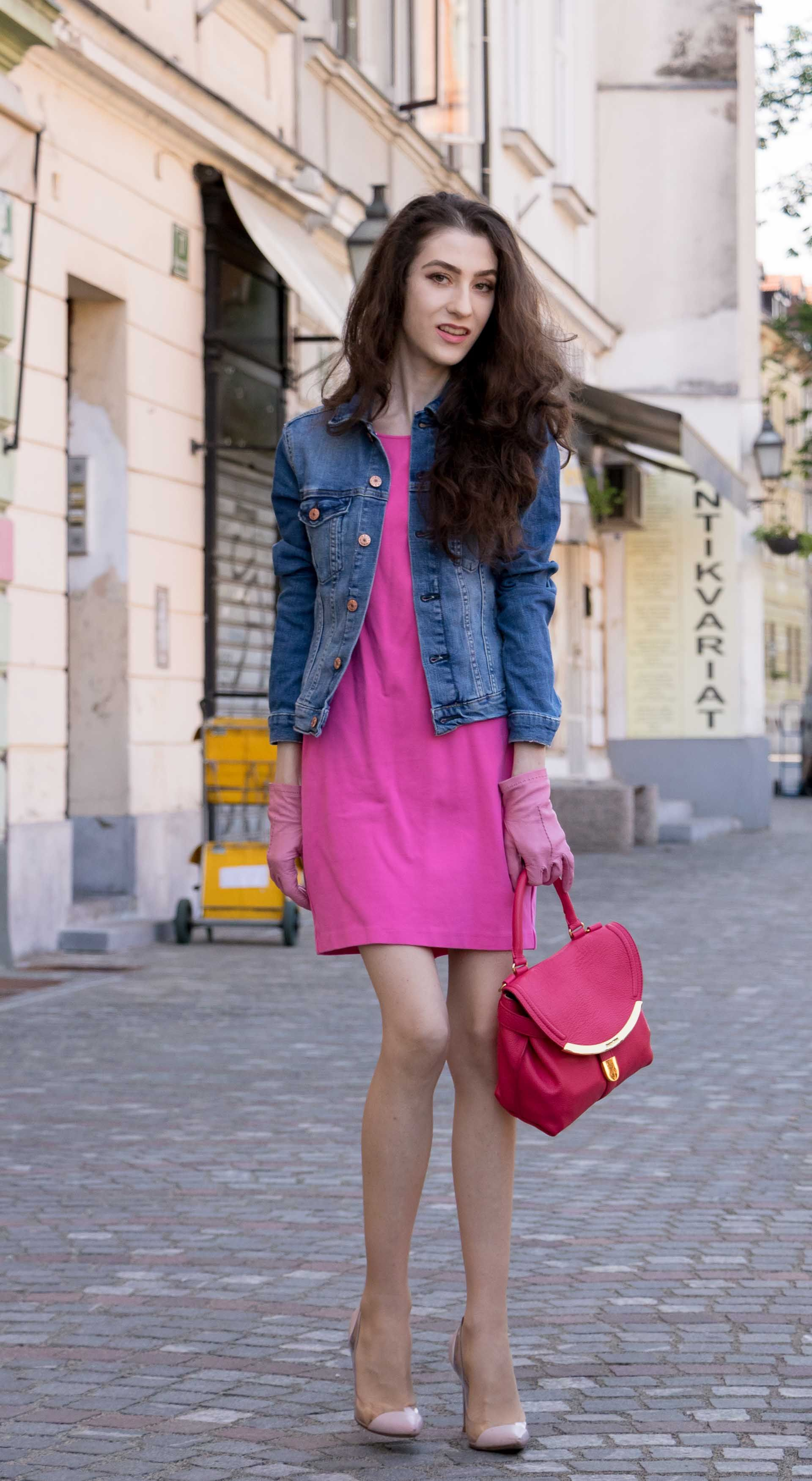 88f15bccce8e Fashion Blogger Veronika Lipar of Brunette from Wall Street sharing how to  wear denim jacket with cocktail dress for a casual look  fashion  blogpost   chic ...