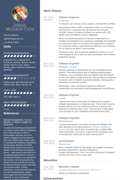 creative resume templates for software developer