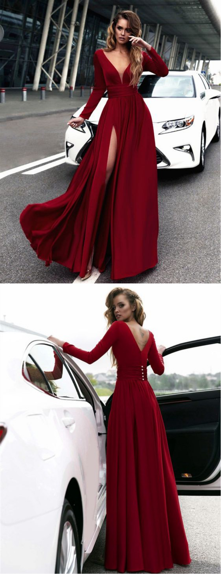 Gorgeous burgundy long prom dresses long sleeves prom dresssexy