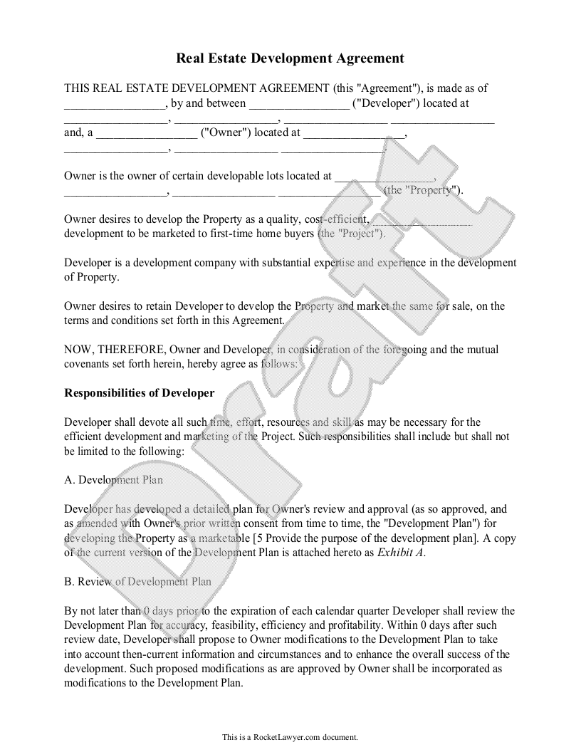 Real Estate Development Agreement Template - Contract with Sample ...