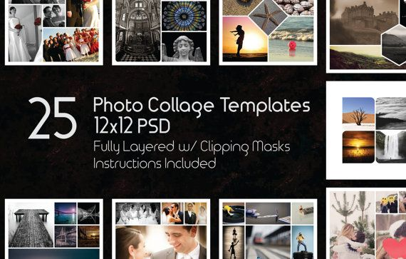 12x12 Photo Collage Templates Pack 25 Psd Templates Etsy In 2021 Photo Collage Template Photoshop Collage Template Photo Collage