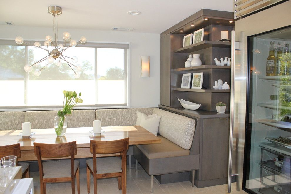 Beautiful built in dining room seating color palette incredible light fixture modern banquette seating bench shelf