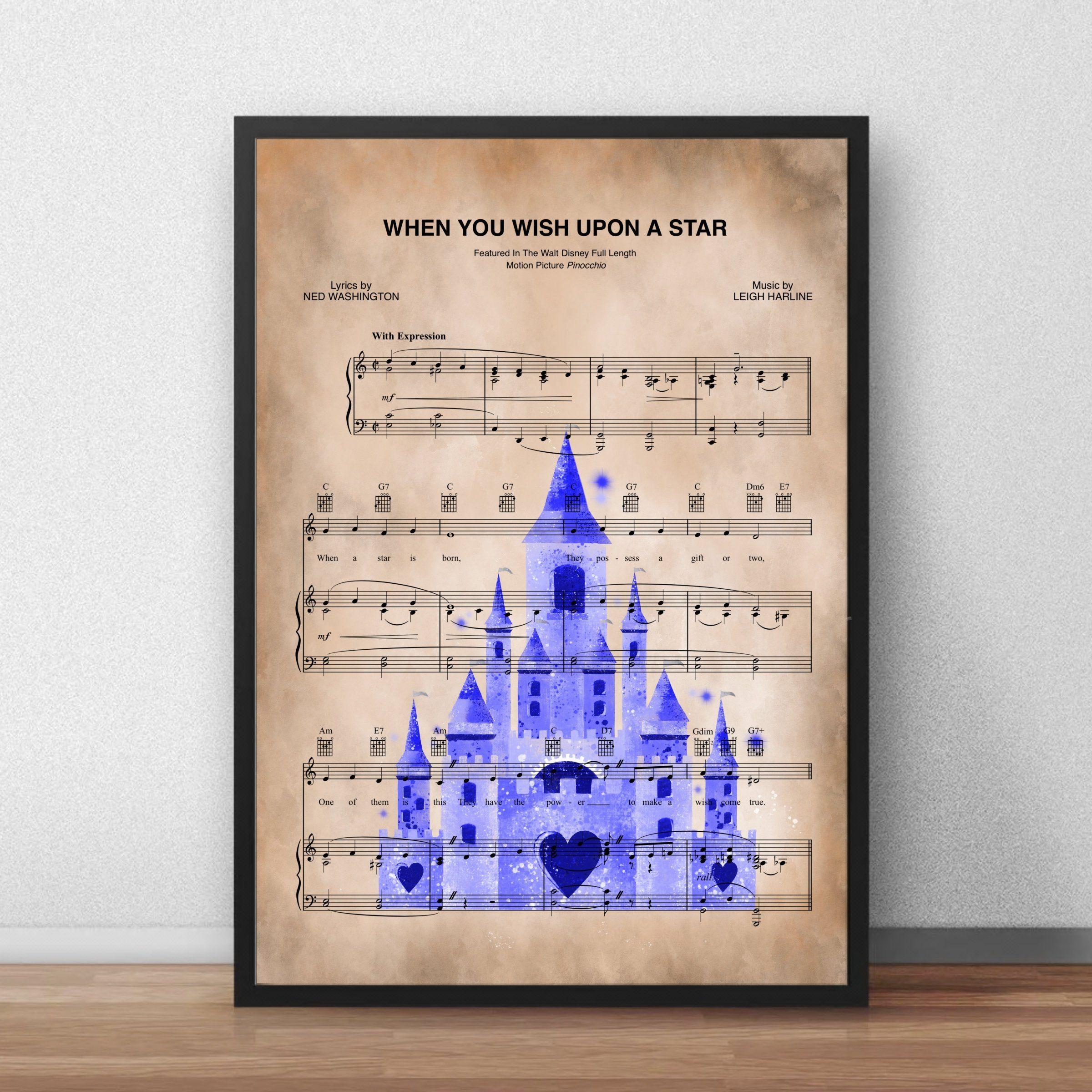 Disney princess castle music sheet printwall artgift