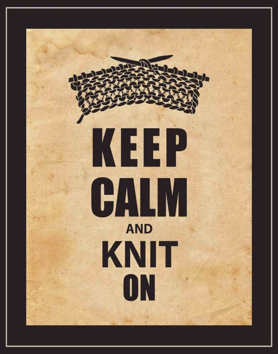Wall Art - Keep Calm and Knit On - Typography Art Print - Knitting ...