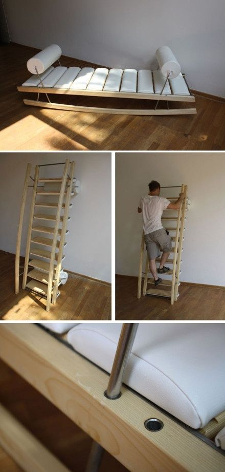 Small Space Convertible Furniture: Combination Lounge And Ladder - Source Unknown