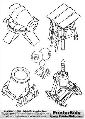 Clash Of Clans Tower Group Coloring Page Lucas Bday Ideas