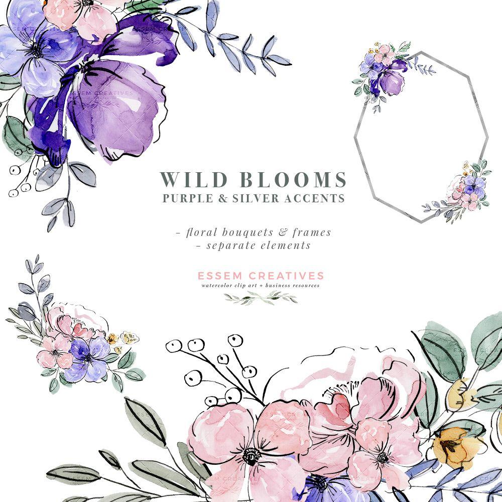 Purple Watercolor Flowers Clip Art Silver Violet Lavender Floral Graphics Frames Bouquets Png Flower Clipart Watercolor Flowers Free Watercolor Flowers