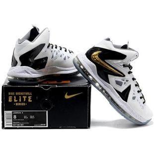low priced 5e387 6a65a Nike LeBron 10 Elite Home White Black Metallic Gold