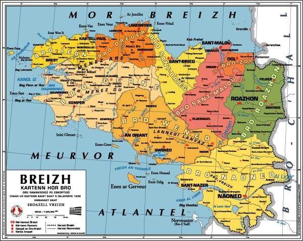 Carte géographique (ancienne), Bretagne. | Brittany. The