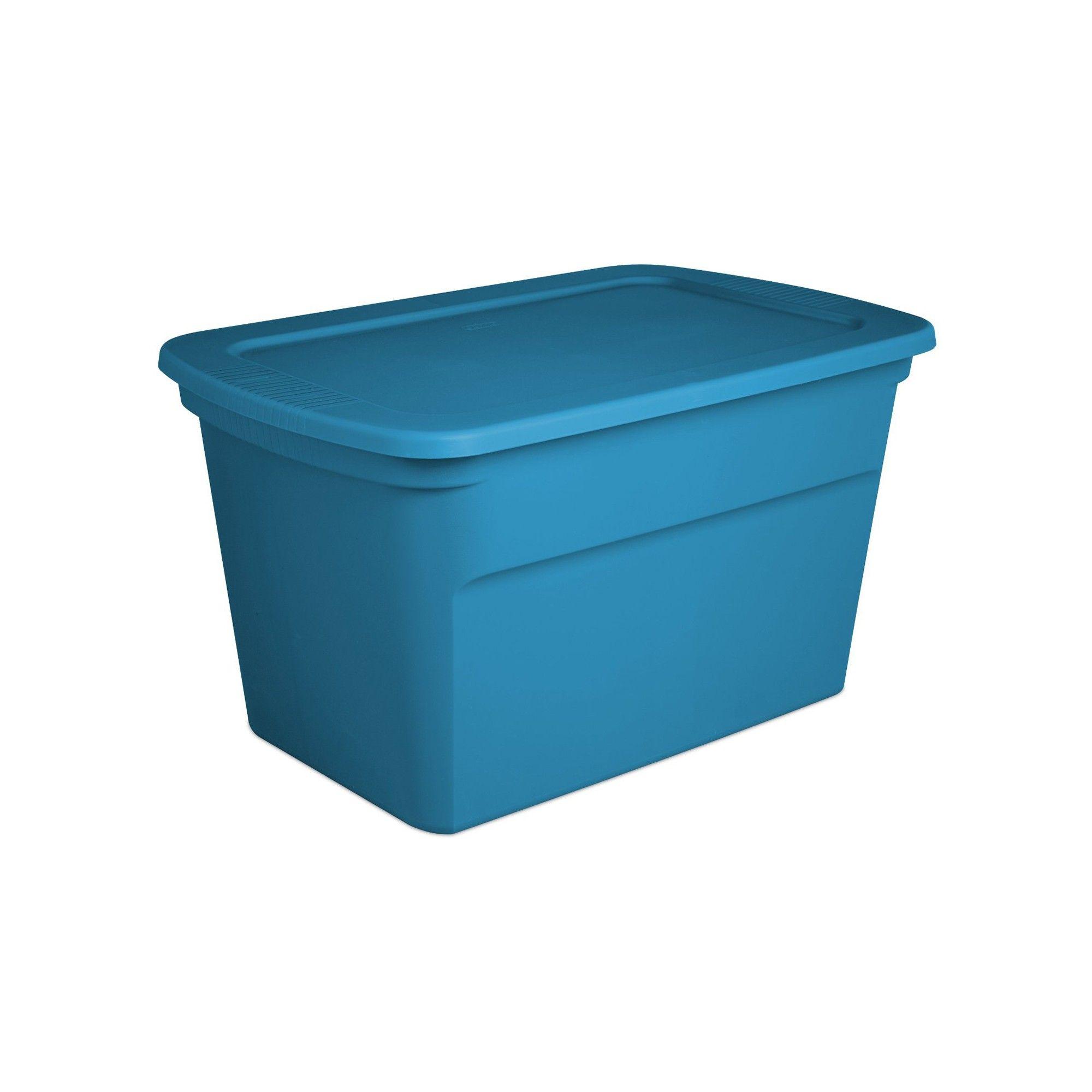 Sterilite 30 Gallon Plastic Storage Tote Blue Aquarium 6 Pack 17364306 Plastic Storage Totes Plastic Storage Tote Storage