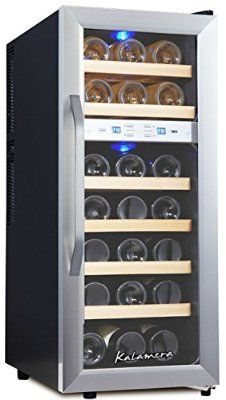 Kalamera KR-21ASSE wine refrigerator for up to 21 bottles (up to 310 mm height), two temperature zones 7-18 ° C,Freestanding stainless steel Wine fridge,black