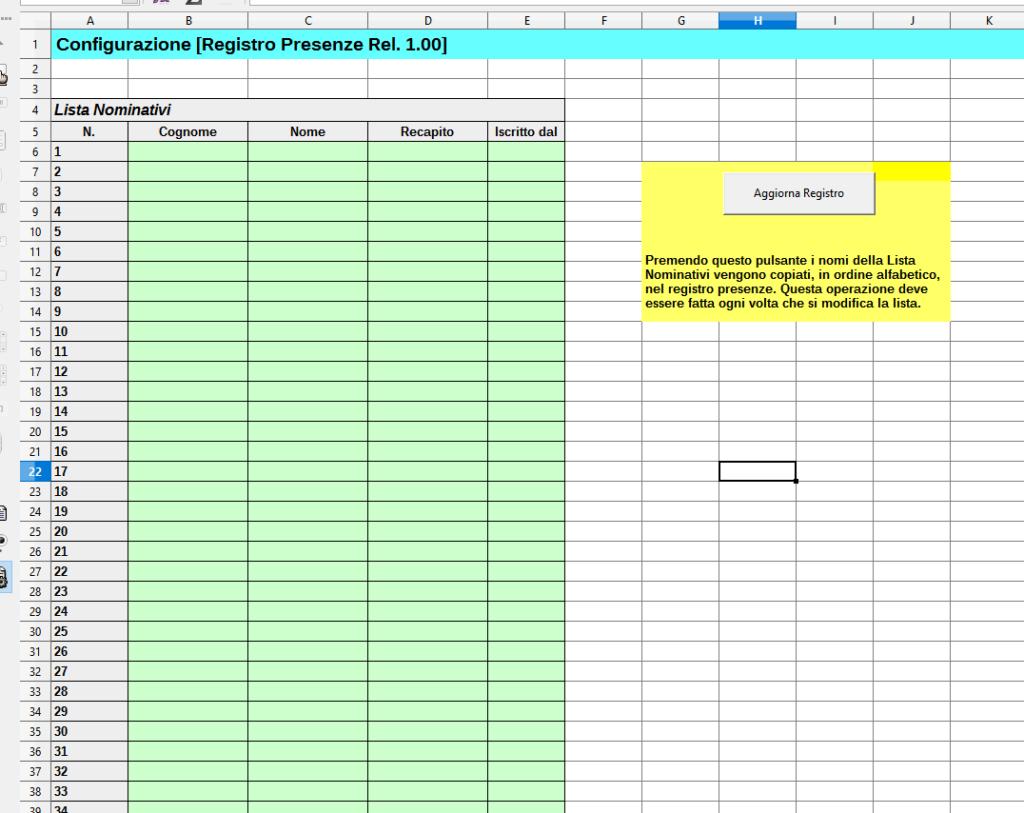 Calendario Presenze Excel.Registro Presenze Con Lo Calc Il Foglio Di Configurazione