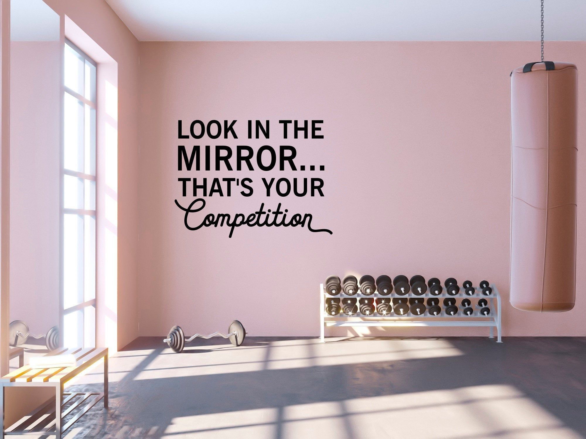 Look in the Mirror...That's Your Competition Quote Wall Decal - Sport Vinyl Stickers, Motivational Gym Decal, Fitness Quote Wall Decal SB155 -   19 fitness Room mall ideas