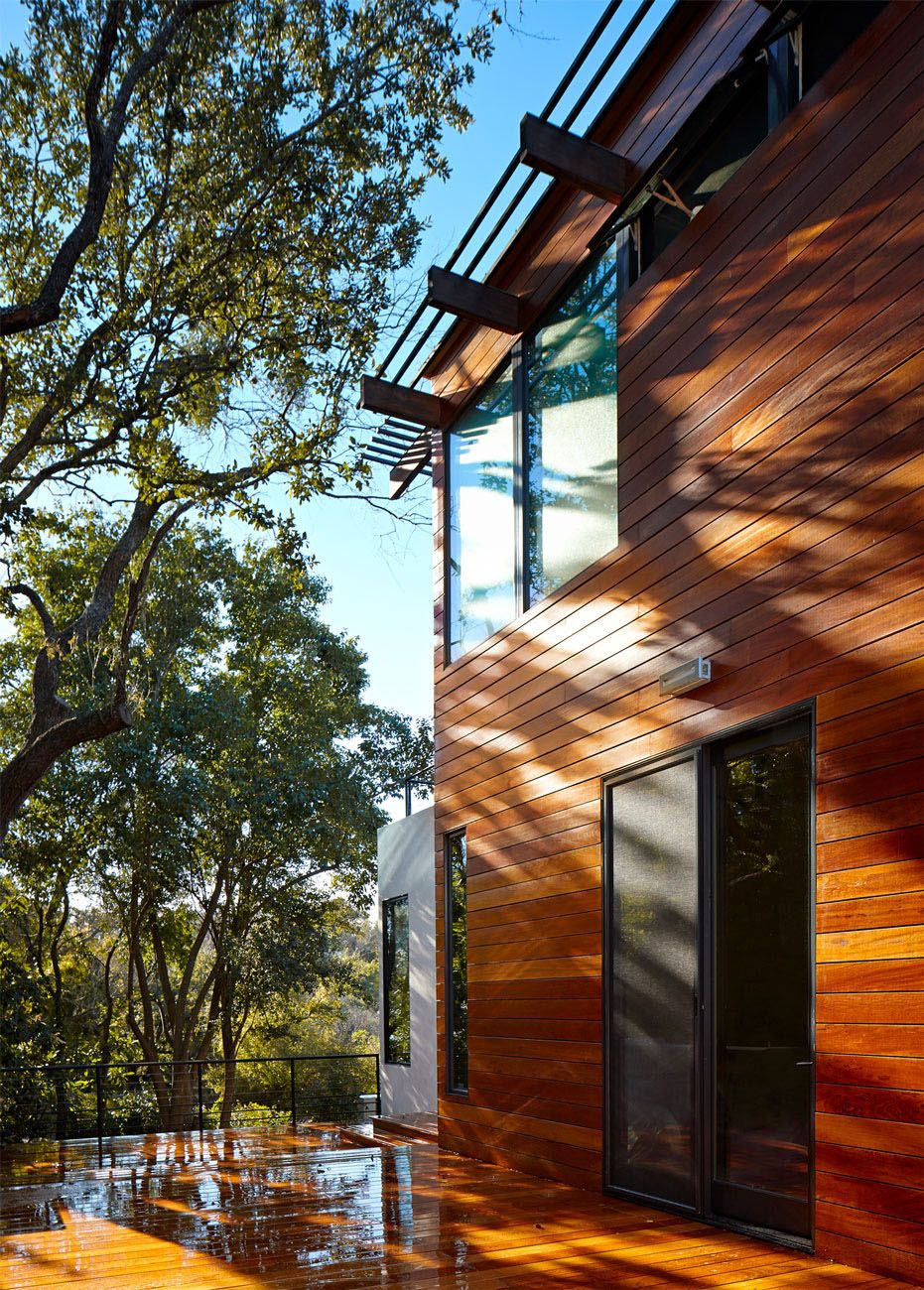 Rancher Morphed Into Sustainable 2 Storey House With Bridged Pool Tree House Designs Exterior Wall Design House Architecture Design