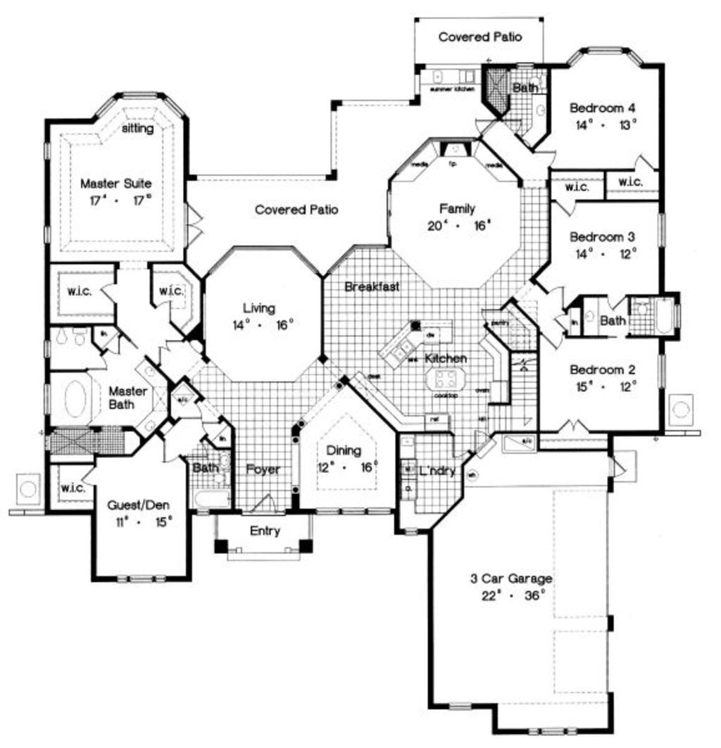 5 master bedroom house  Traditional Style House Plan   Beds  Baths  SqFt Plan