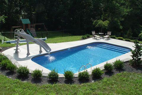 Rectangular Premium With Upgrades Small Inground Pool Small Swimming Pools Backyard Pool Landscaping