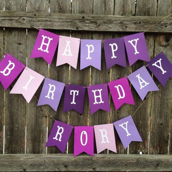personalized birthday banner Purple happy birthday banner , personalized birthday banner  personalized birthday banner