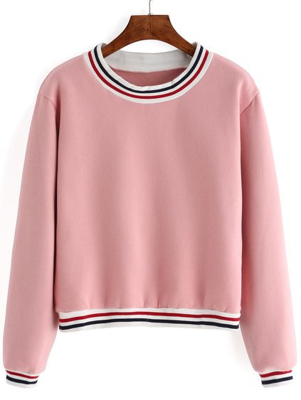 Striped Thicken Pink Sweatshirt Mobile Site