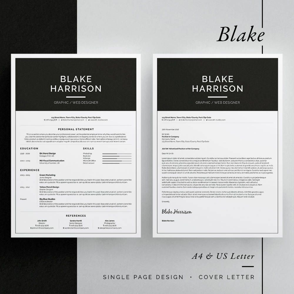 Blake Resume/CV Template Word InDesign