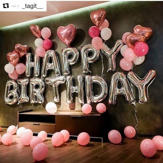 Silber Happy Birthday Dekoration mit rosa Ballon Bouquet | #21stbirthdaydecorations