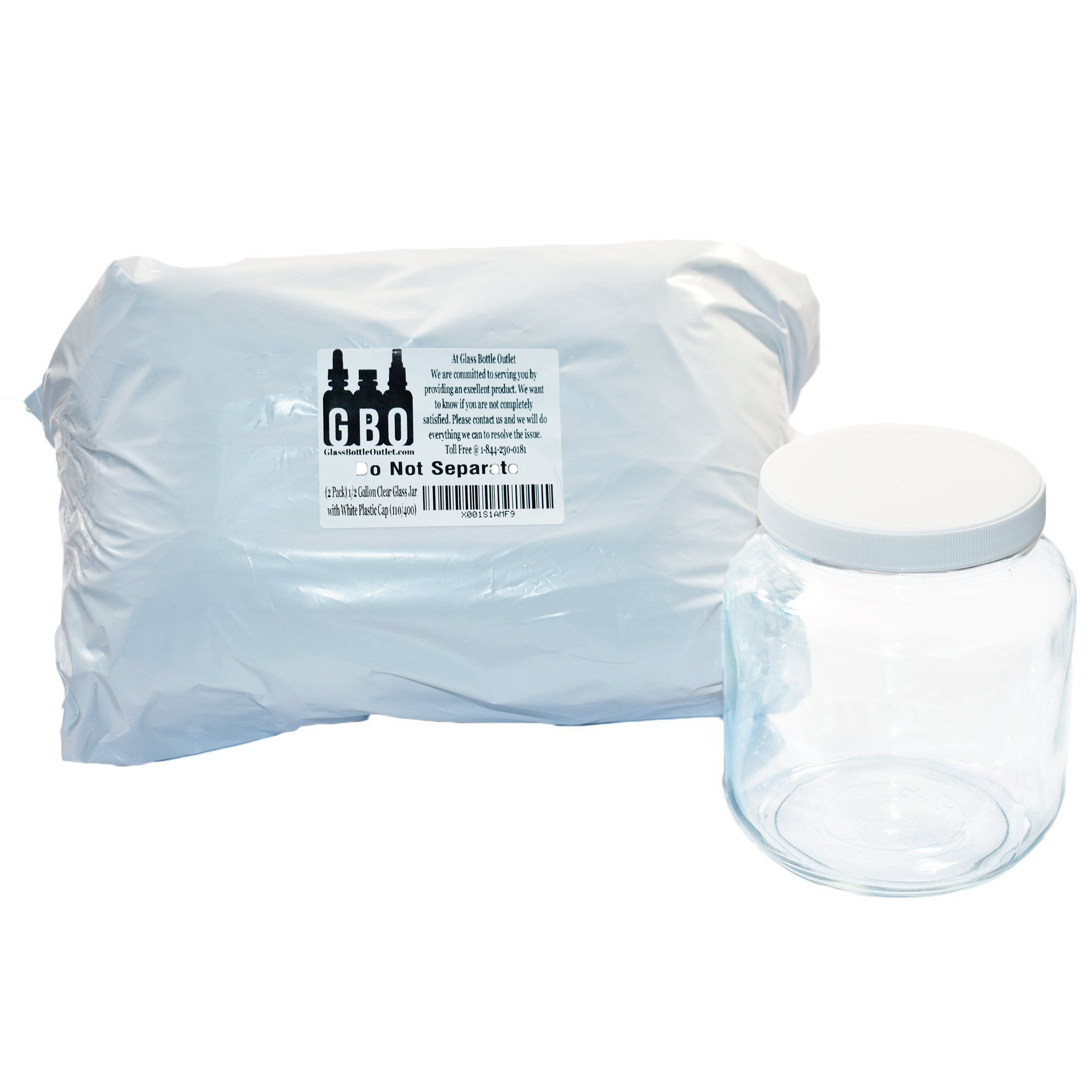 2 Pack 1 2 Gallon Clear Glass Jar With White Plastic Cap 110 400 You Can Get Additional Details At The Image Link Clear Glass Jars Glass Jars Plastic Caps