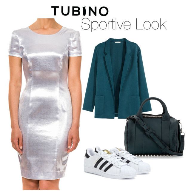"""""""Coco Zilver Sportive"""" by tubino-skirts-dresses ❤ liked on Polyvore featuring H&M, Alexander Wang and adidas"""
