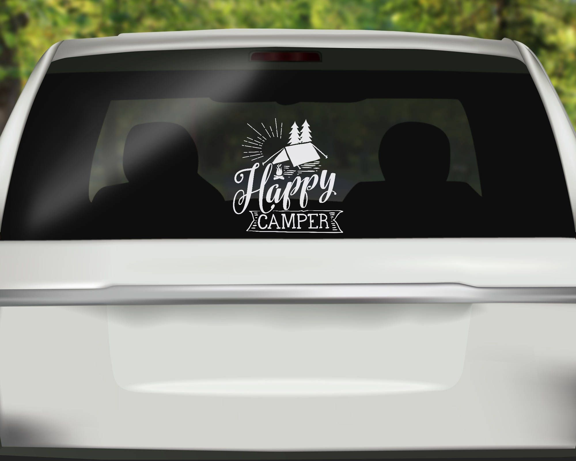 Happy Camper Decal Travel Car Decal Camping Sticker Tent