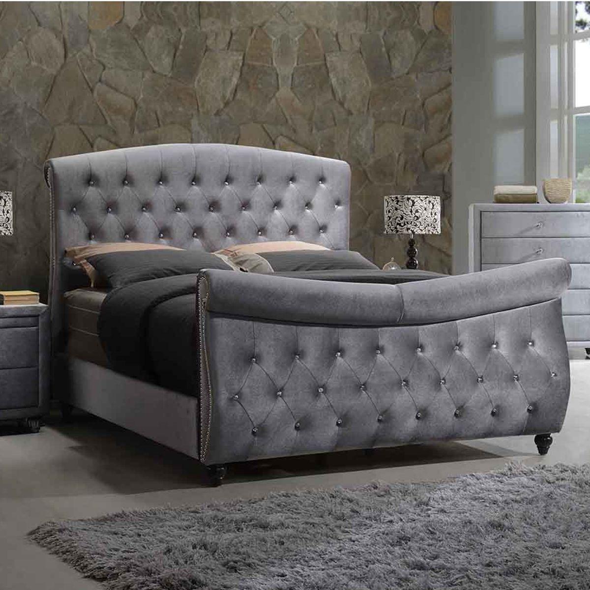 Meridian Furniture Hudson Grey Velvet King Sleigh Bed Crystal Tufted Headboard Footboard Hudson-Sleigh-K at Dynamic Home Decor