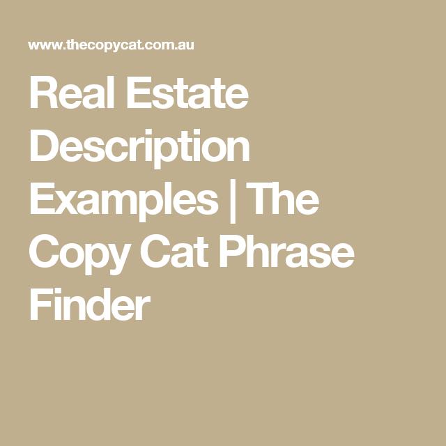 real estate descriptions examples
