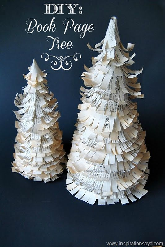 #DIY: Book Page Trees #blogherholidays #crafts #bookpagetree #chritmas #holidays #decor #christmastree