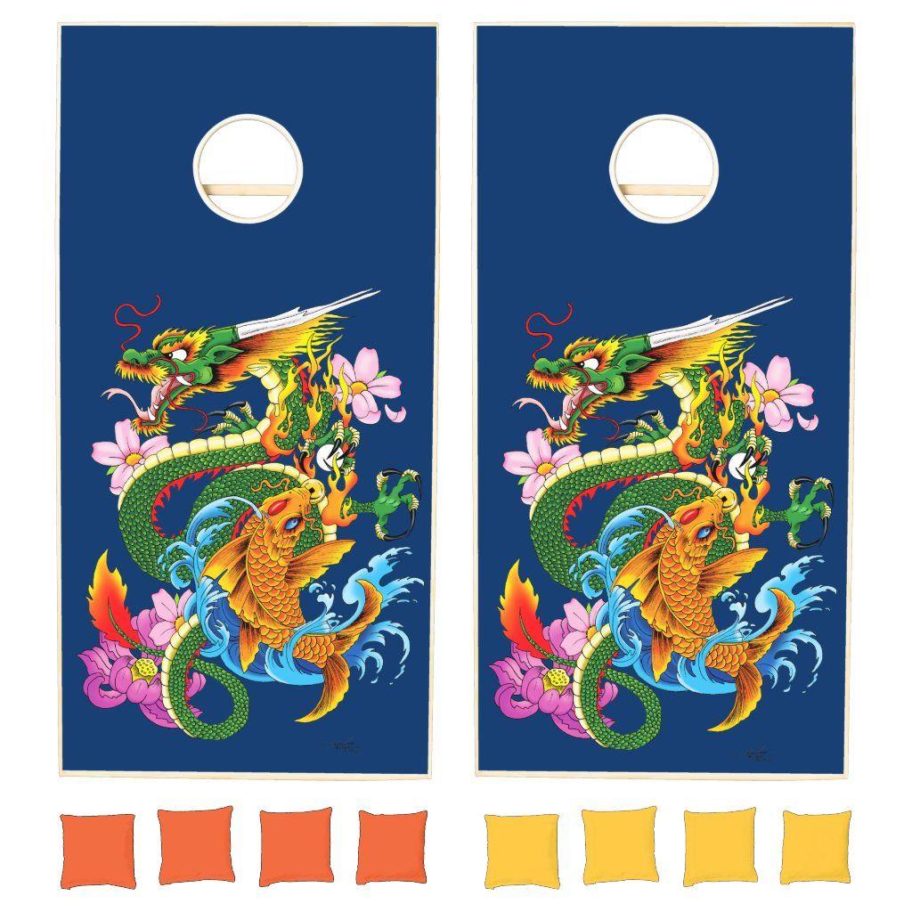 Dragon and Koi Cornhole Set