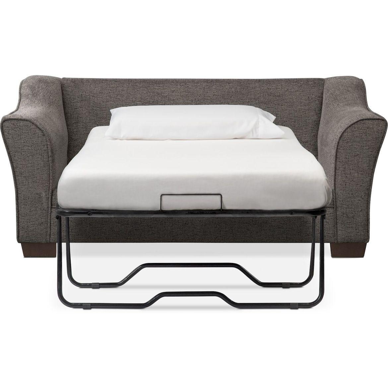 Best Trevor Twin Memory Foam Sleeper Chair And A Half Gray In 400 x 300