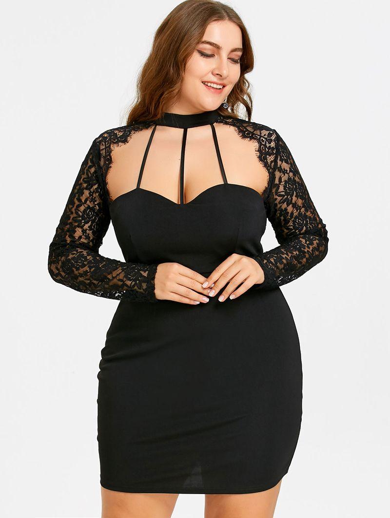 Plus size xl sexy black lace panel cut out halter dress price