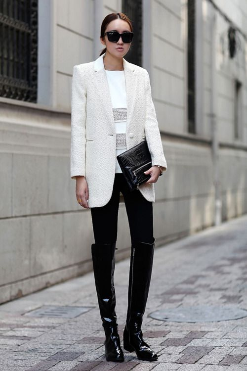 Love This Entire Outfit I Need Want Black Patent Leather Boots Crisp Winter White And Black Patent Leather Exce Fashion Street Style Outfit Inspirations