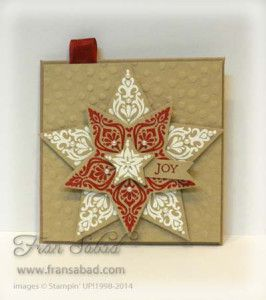 Stampin' Up! ... handmade Christmas gift card holder adorned with Bright & Beautiful layered star in kraft, red and white ... back is a petal fold envelope style ... seam-binding loop to hang it on a tree ... luv it!!