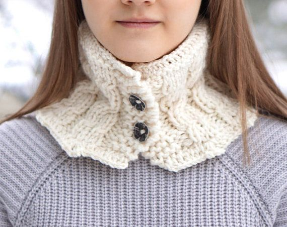 Cozy Cable Scarf Collar neck warmer scarf by ValerieBaberDesigns