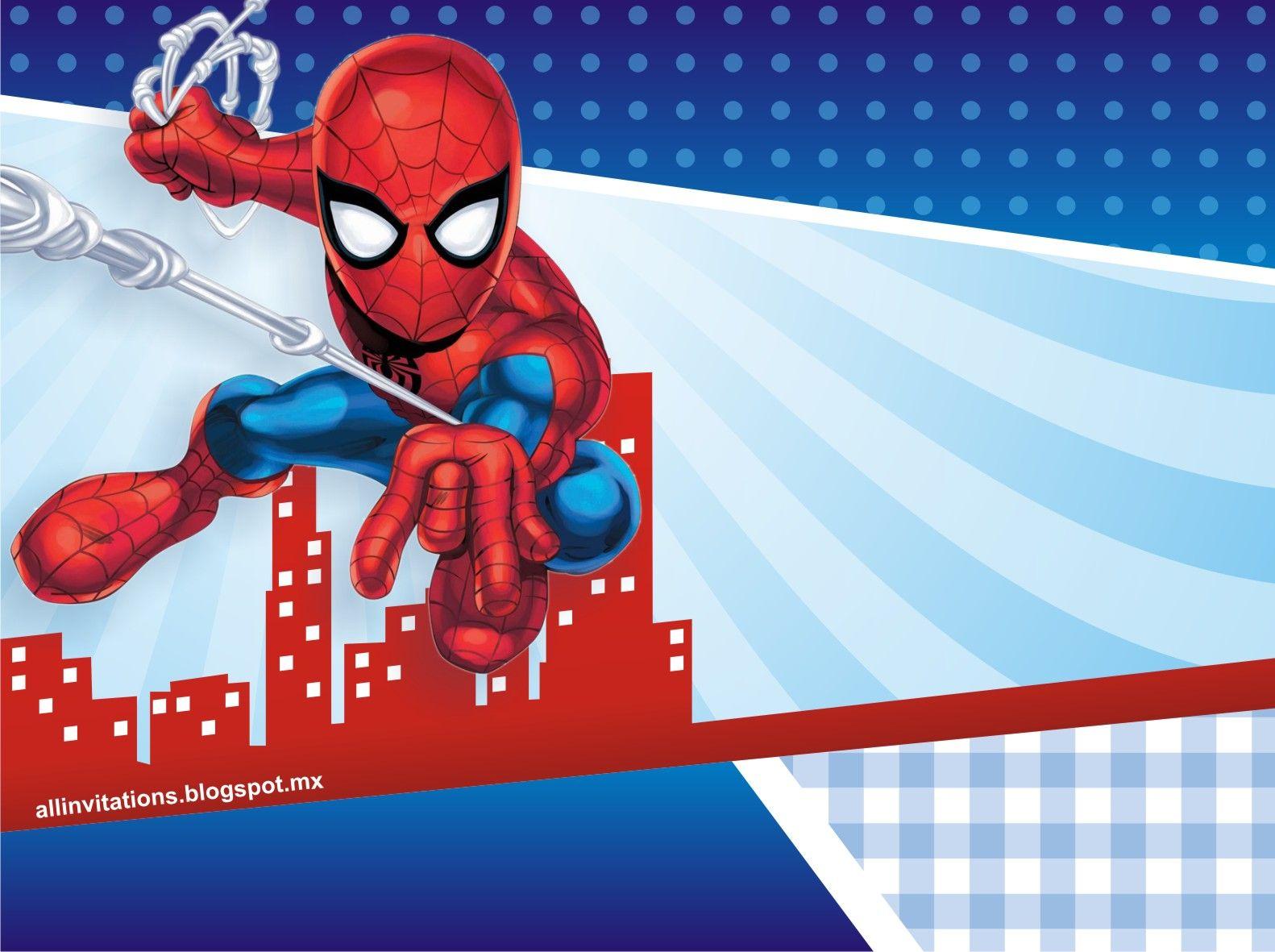 Plantilla invitacion hombre araña | fiesta | Pinterest | Cumpleaños ...