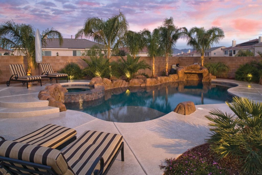 freeform pool with palm tree landscaping Inground pool