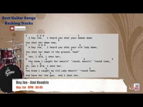 Hey Joe - Jimi Hendrix Drums Backing Track with scale, chords and ...