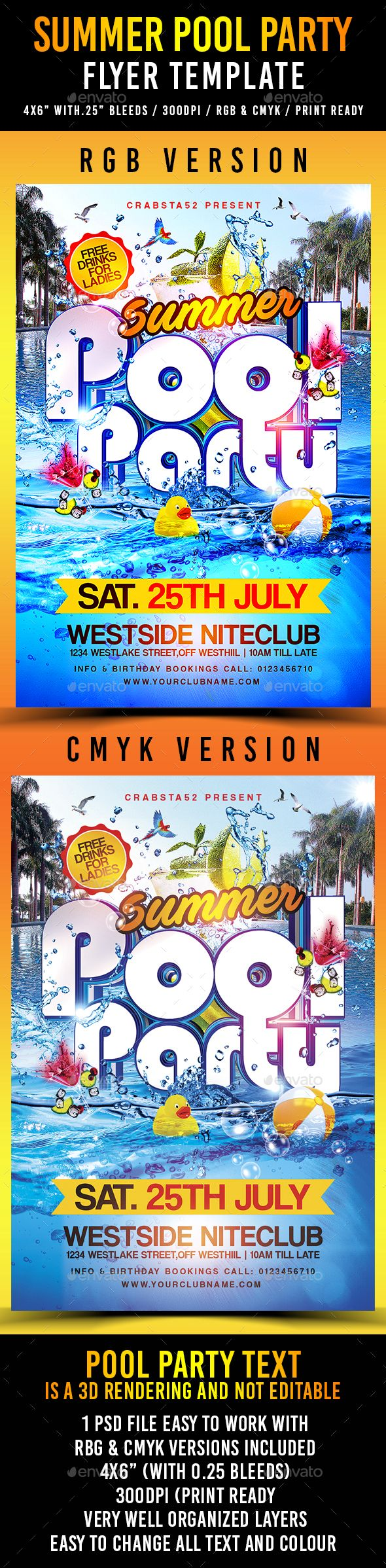 Summer Pool Party Flyer Template PSD. Download Here:  Http://graphicriver.net/item/summer Pool Party Flyer Template /16357371?refu003dksioks