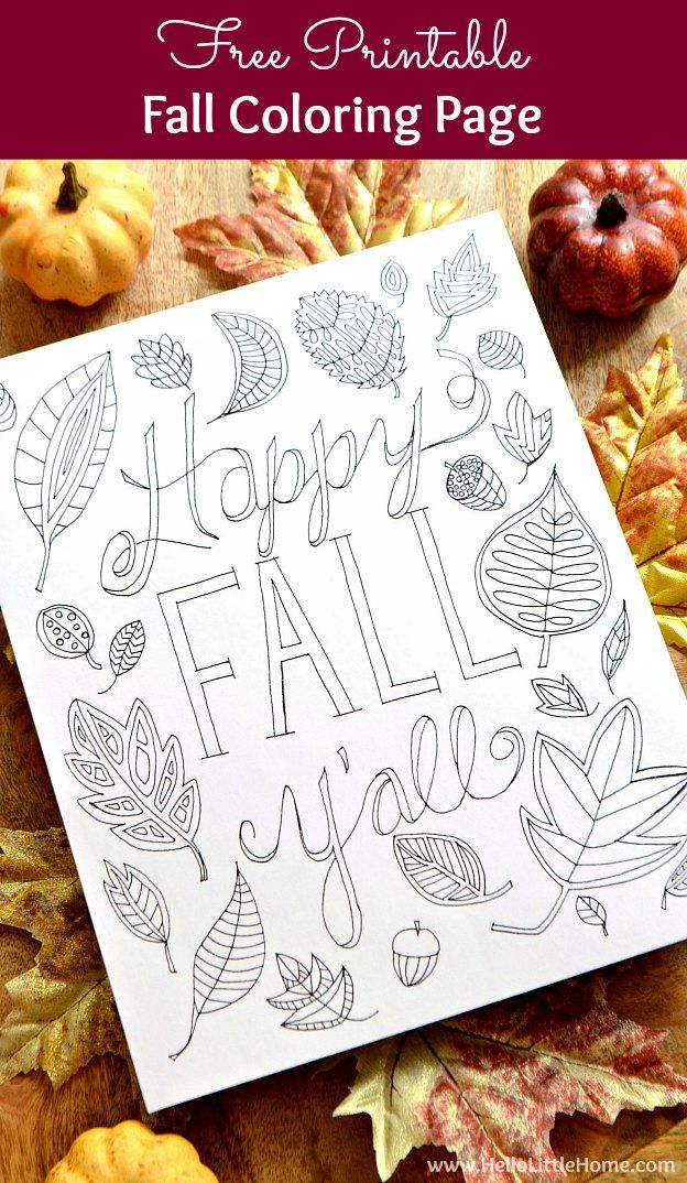 Happy Fall Y All Coloring Page Fall Coloring Pages Free