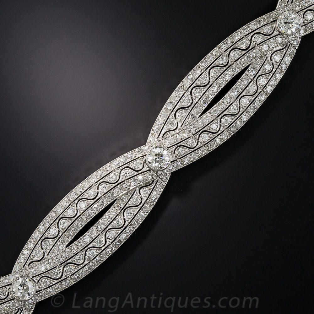 Edwardian platinum and diamond bracelet ribbon design european