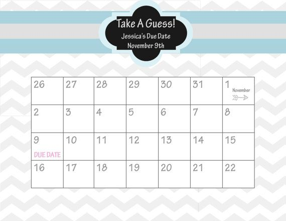 Printable Due Date Calendar    Baby Shower Game    Guess the Date    Pinterest
