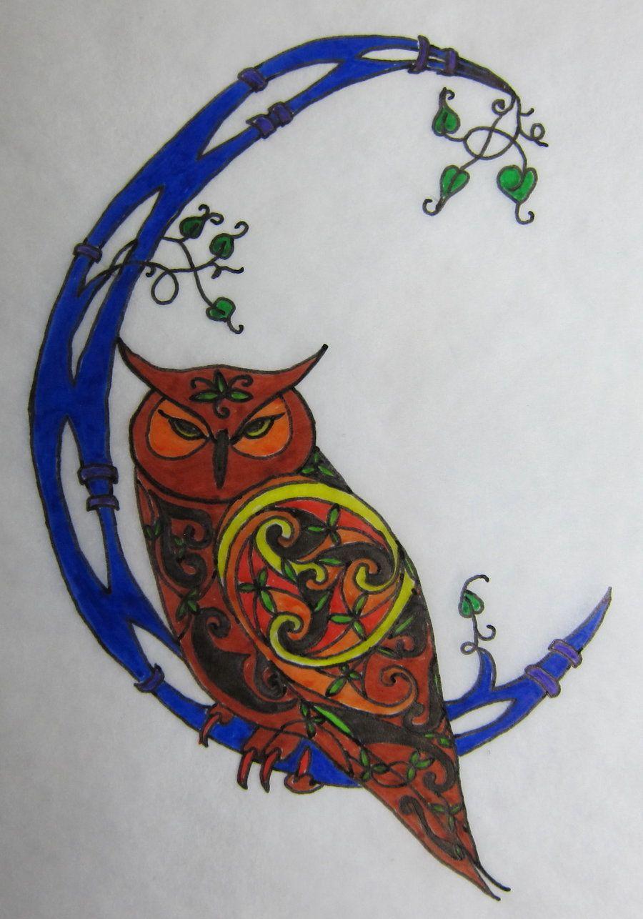 Owl greeting card set welsh artist jen delyth celtic art studio - Celtic Art