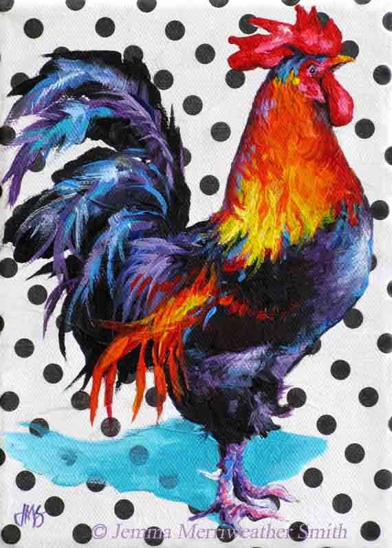 rooster painting rooster print rooster art colorful chicken art