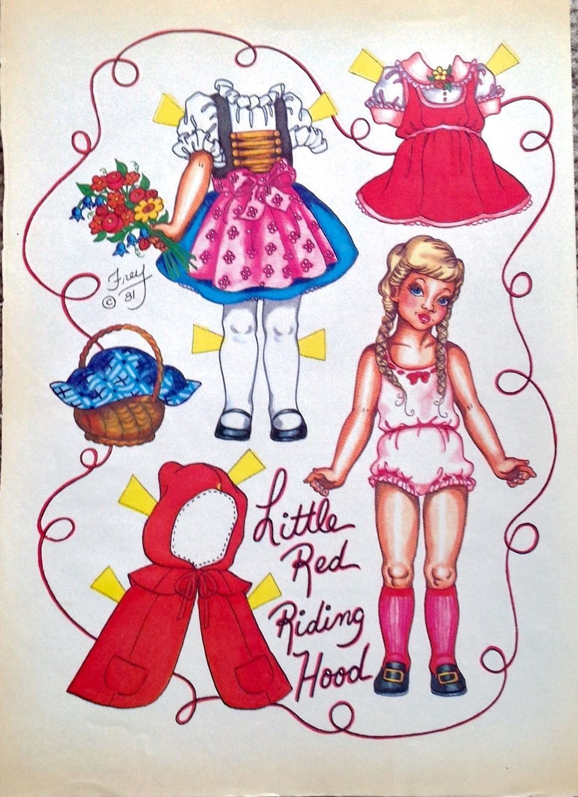 Little Red Riding Hood Paper Doll by Pat Frey 1982 National Doll World Mag | eBay