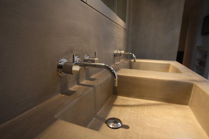 Salle de bain double vier mortex mortex tadelakt - Double evier salle de bain ...