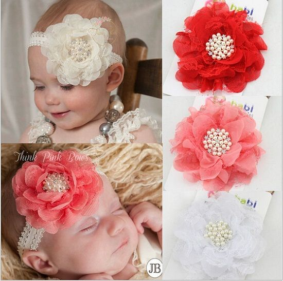 $27.00 (Buy here: http://appdeal.ru/75w3 ) Tulle Flowers with Pearl and Rhinestone Center on Baby Headband Newborn Baby Toddler girls headwear Photo Prop 10pcs HB320 for just $27.00
