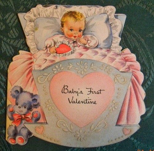 Babys First Valentine Vintage C Hallmark 1946 Valentine Die Cut – First Valentines Cards